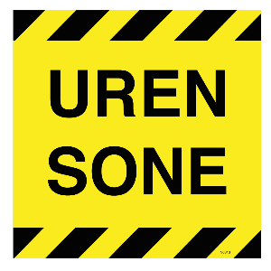 Bilde av Uren sone skilt med tekst 200 x 200mm