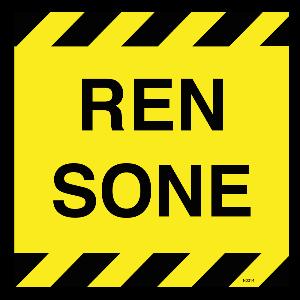 Bilde av Ren sone skilt med tekst 200 x 200mm
