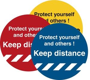 Bilde av Hold avstand Gulvskilt Ø250mm - Keep Distance Protect Yourself