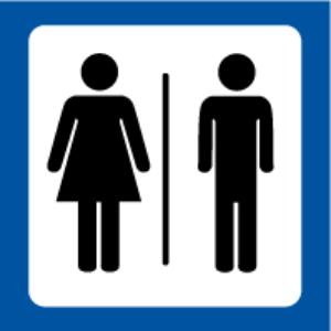 Bilde av Toalettskilt med symbol for Dame og Herre