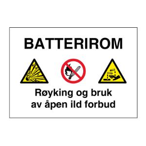 Bilde av Batterirom - Fareskilt med symboler og tekst