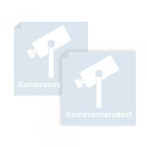 Bilde av Kameraovervåket område - klistremerke med hvitt symbol og tekst