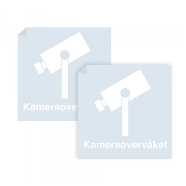 Kameraovervåket område - klistremerke med hvitt symbol og tekst