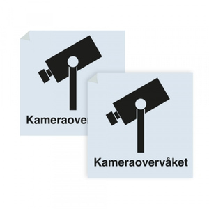 Bilde av Kameraovervåket område - klistremerke med sort symbol og tekst