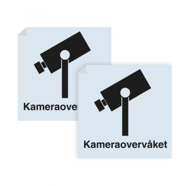 Kameraovervåket område - klistremerke med sort symbol og tekst