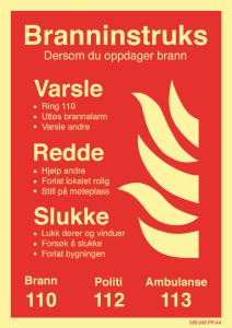 Bilde av Branninstruks - skilt som forteller hva du gjør i tilfelle brann