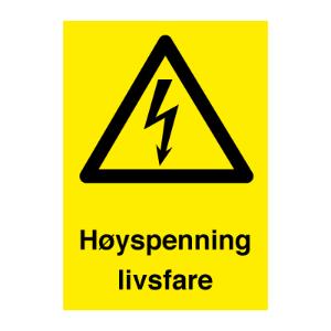 Bilde av Høyspenning livsfare - varselskilt med tekst og symbol