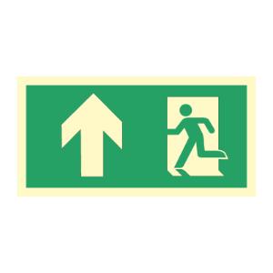 Bilde av Nødutgangsskilt med pil opp for merking av rømningsvei