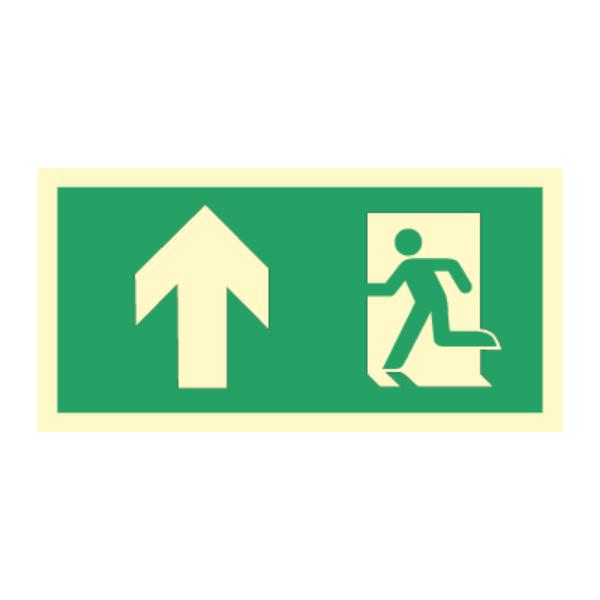 Nødutgangsskilt med pil opp for merking av rømningsvei