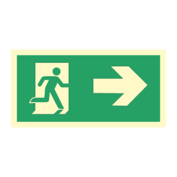 Nødutgangsskilt med pil til høyre for merking av rømningsvei