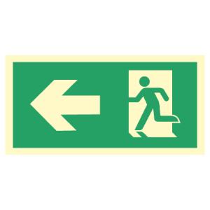 Bilde av Nødutgangsskilt med pil til venstre for merking av rømningsvei