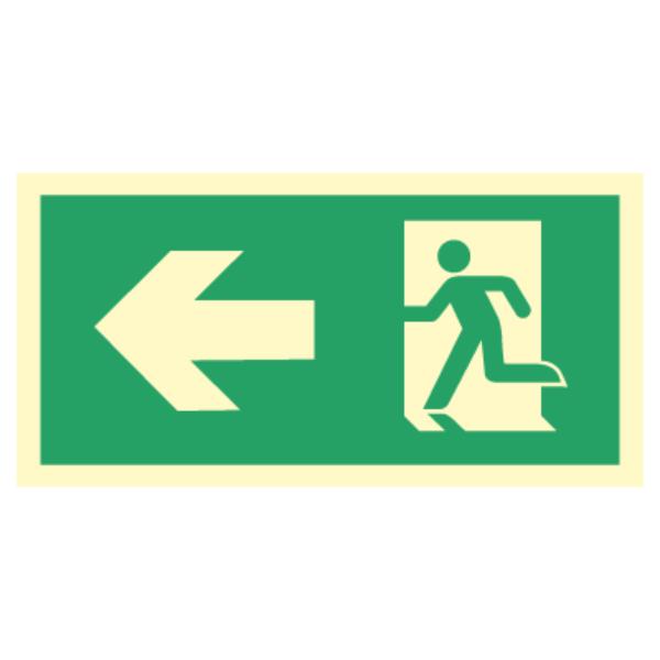Nødutgangsskilt med pil til venstre for merking av rømningsvei
