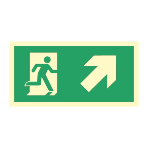 Nødutgangsskilt for rømningsvei med pil høyre opp