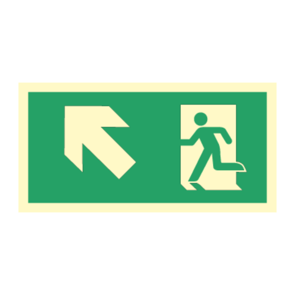 Nødutgangsskilt for rømningsvei med pil venstre opp