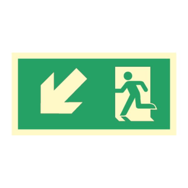 Nødutgangsskilt for rømningsvei med pil venstre ned
