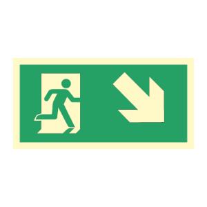Bilde av Nødutgangsskilt for rømningsvei med pil høyre ned