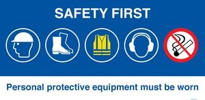 Bilde av Safety first - byggeplasskilt 500 x 1000 mm
