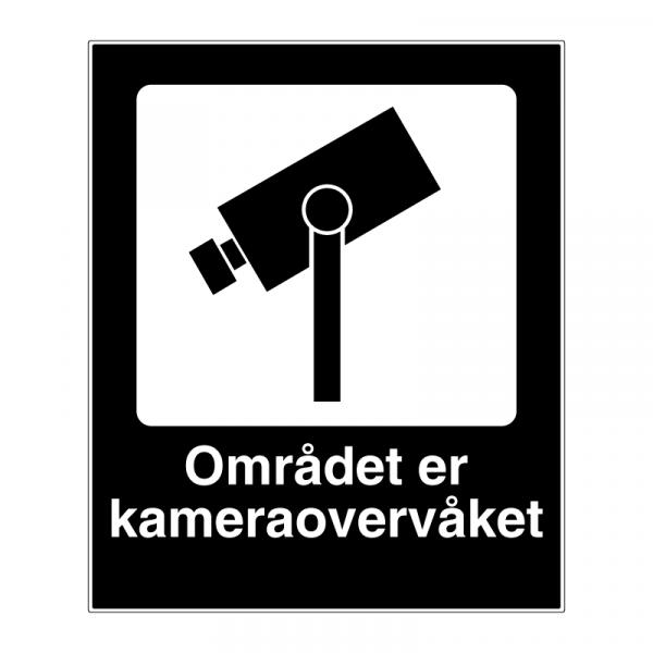 Kameraovervåket område skilt med symbol og tekst 600 × 500 mm