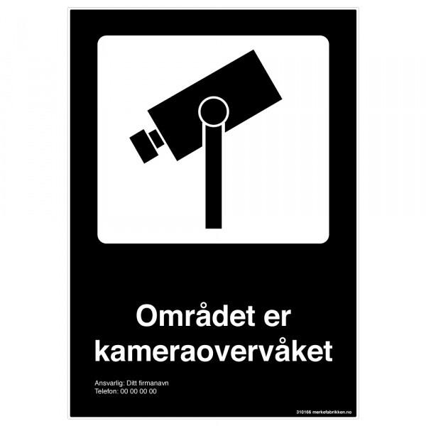 Kameraovervåket område sort skilt med symbol og tekst