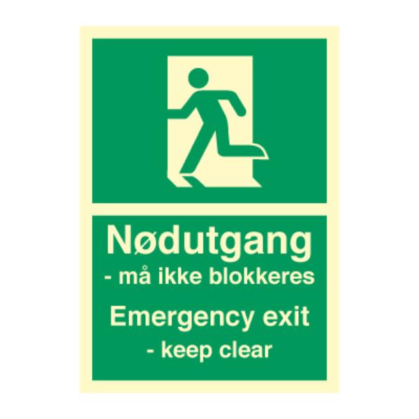 Nødutgangsskilt - Nødutgang må ikke blokkeres