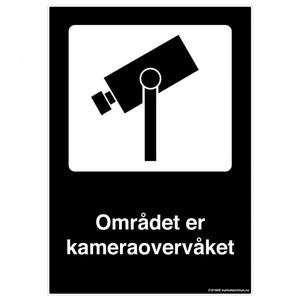 Bilde av Området er kameraovervåket - sort skilt med symbol