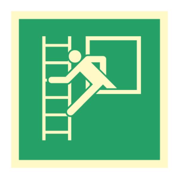 Nødutgangsskilt - Rømningsvei til brannstige/rømningsstige