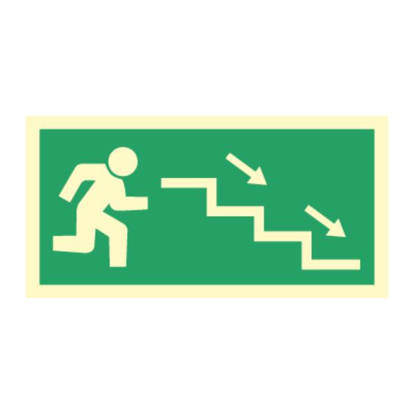 Nødutgangsskilt - Høyre trapp ned