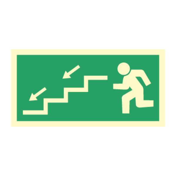 Nødutgangsskilt - Venstre trapp ned
