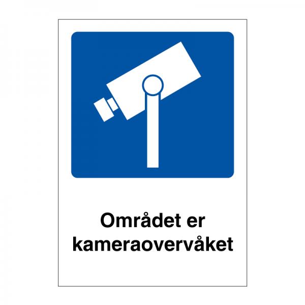 Området er kameraovervåket skilt med symbol og tekst