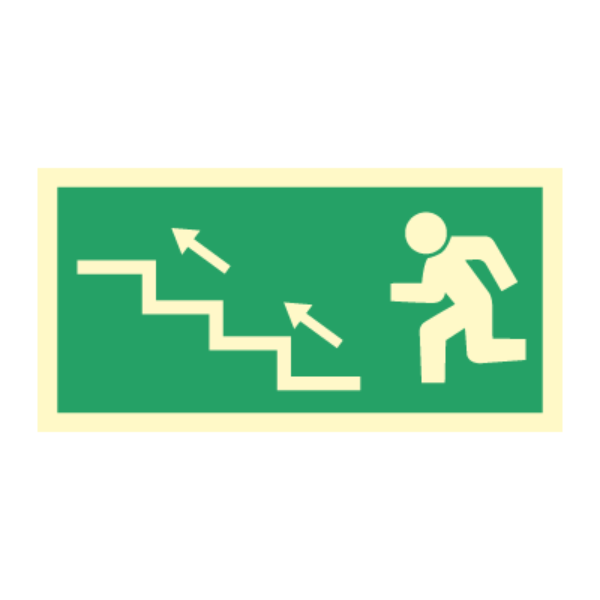 Nødutgangsskilt - Venstre trapp opp