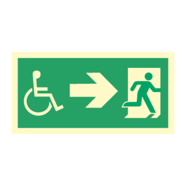 Nødutgangsskilt - Handicap pil høyre