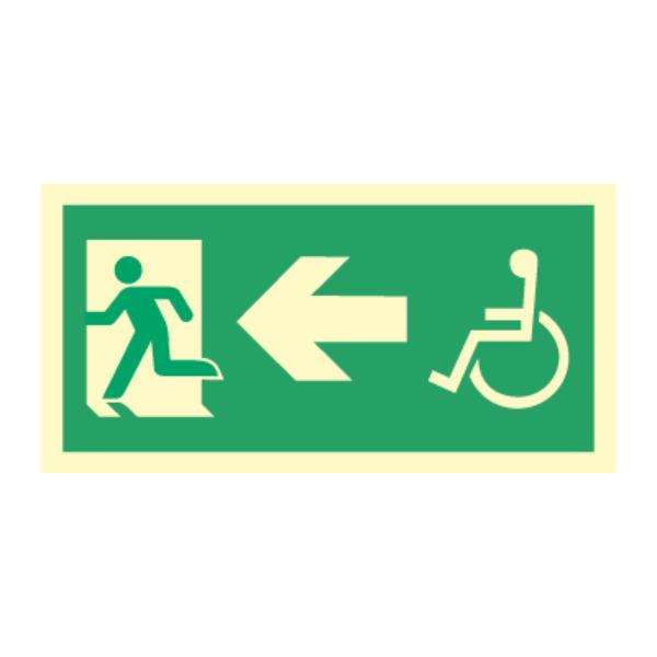 Nødutgangsskilt - Handicap pil venstre