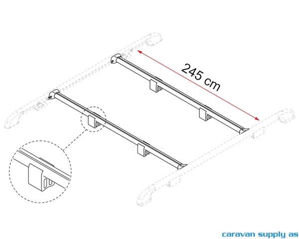 Bilde av Takrails Fiamma Fixing Bar Rail 245cm alu 2stk