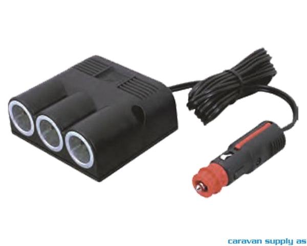 Bilde av 12V adapter uni plugg --> 3 x uni utenpåligge 16A