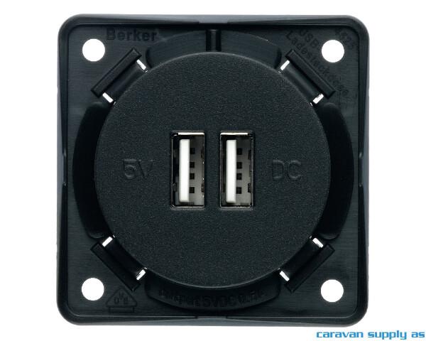 Bilde av Uttak m/2 USB 230V Berker u/ramme 55x55mm
