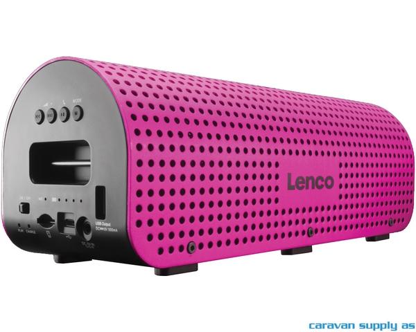 Bilde av Høyttaler Lenco Grid-7 blåtann m/skulderreim rosa