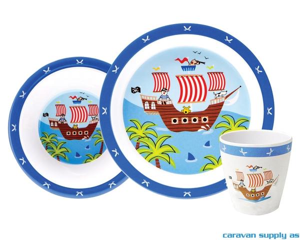 Bilde av Servise Gimex til barn 3-deler pirat blå