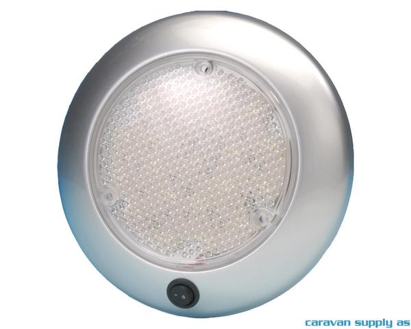 Bilde av Lampe Dome m/bryter LED 12V Ø15cm sølvgrå