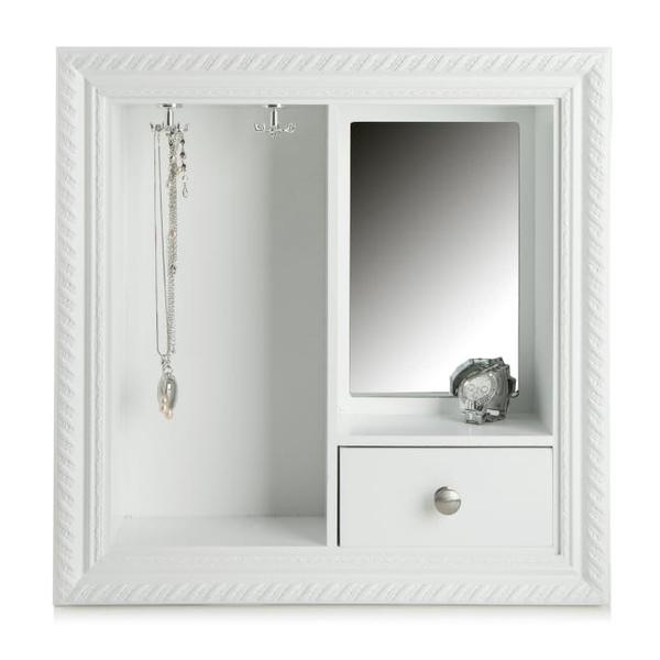 Bilde av Smykkeskap m/1 skuff og speil hvit