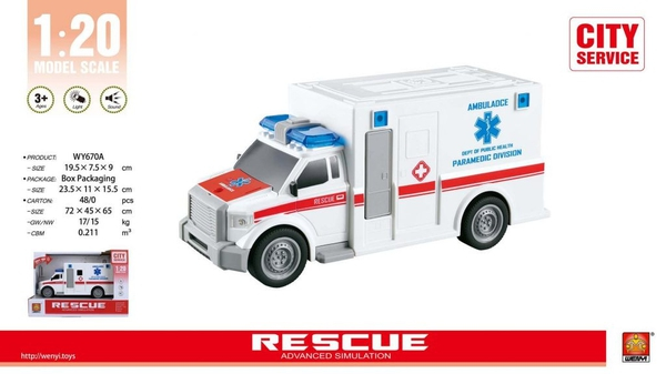 Bilde av WENYI – Ambulanse m/lys og lyd (20cm)
