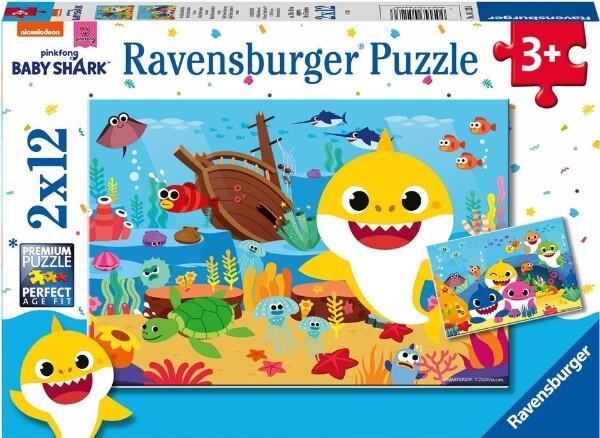 Bilde av Ravensburger puslespill 2x12 brikker - Baby Shark