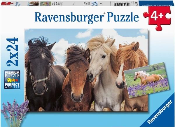 Bilde av Ravensburger puslespill 2x24 brikker - hester
