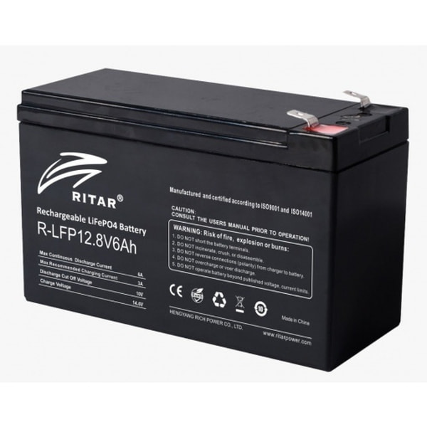 Bilde av RITAR Lithium Batteri 12V 6Ah (LiFePO4) BMS 6A