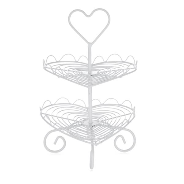 Bilde av Z Collection Cupcakes kakefat 2 etg hjerte hvit