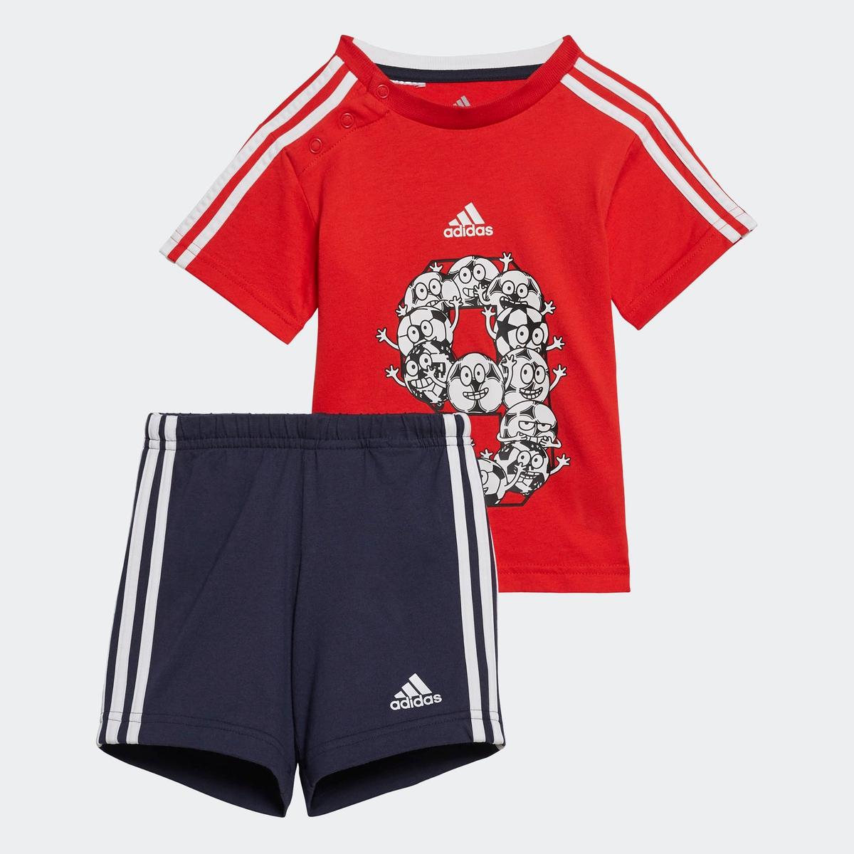 Rød Blå Adidas 3S SP Sett