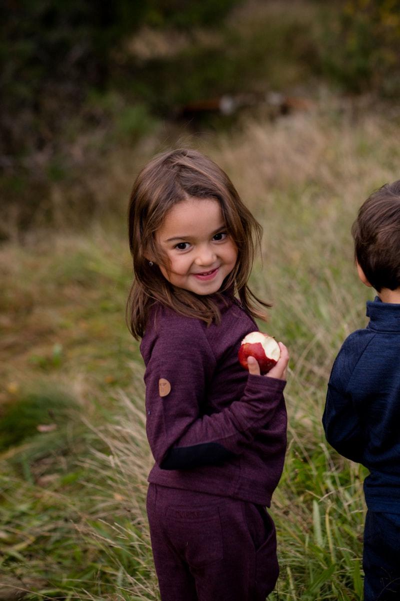 Burgunder Tufte Kids Gullvinge fleece jakke