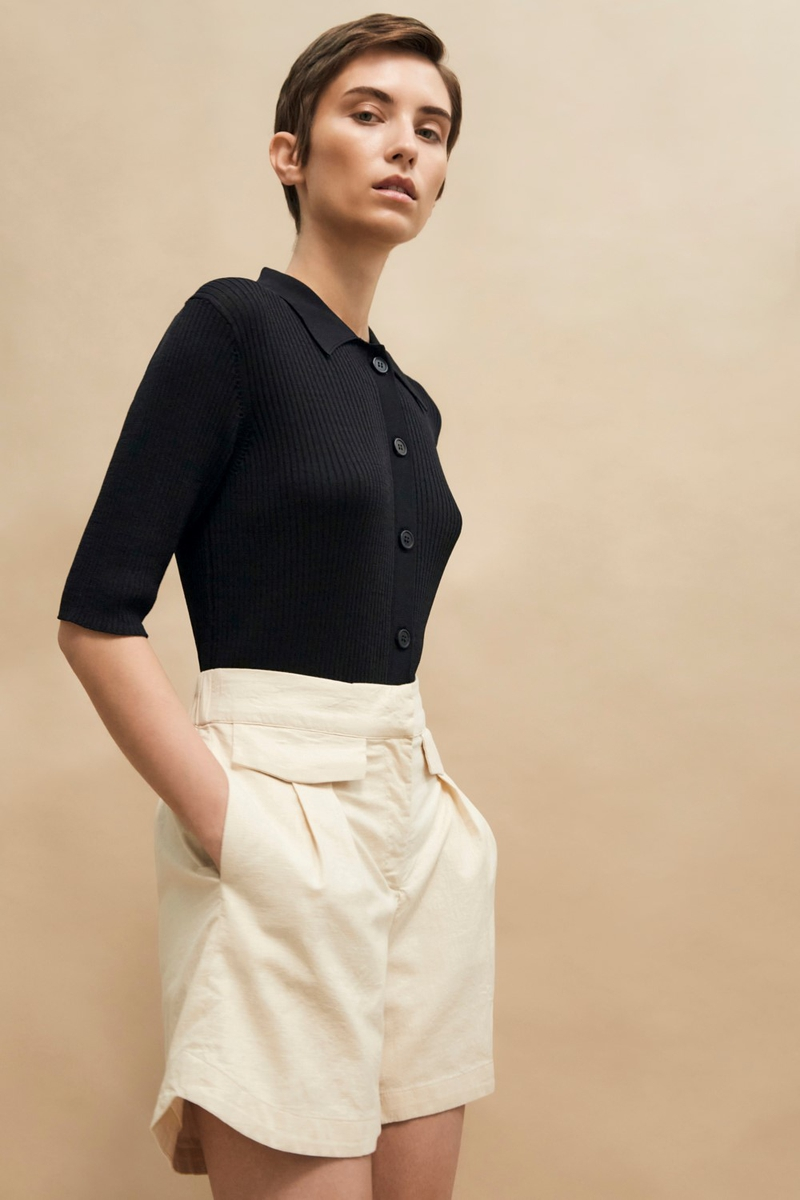 SELECTED FEMME - SORT ALLY SS KNIT POLONECK B