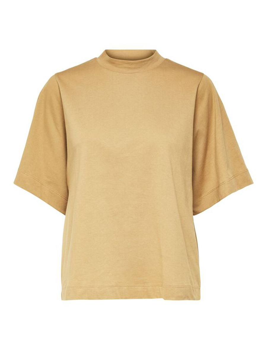 SELECTED FEMME - BEIGE SS HIGH NECK TEE W