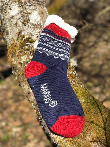 Image of Snuggle sock, Marius® pattern©,  blue/white/red,