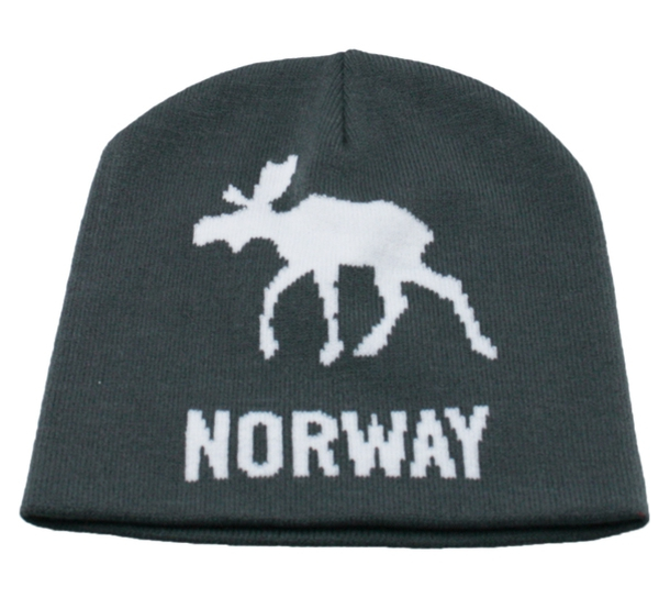 Image of Knitted hat with moose and Norway grey/white